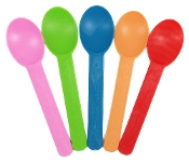 Yogurt Spoons. These colored compostable biodegradable yogurt spoons are perfect for frozen yogurt.