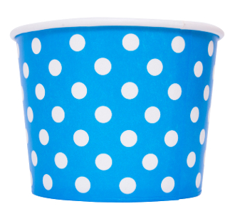 Blue polka dot yogurt cups for frozen yogurt cups and ice cream cups.