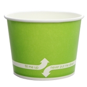 Green paper cups for frozen yogurt.