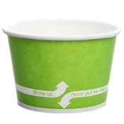 8 oz green frozen yogurt cups.