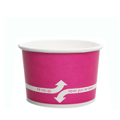 4 oz pink paper cups for ice cream, gelato, and frozen yogurt.