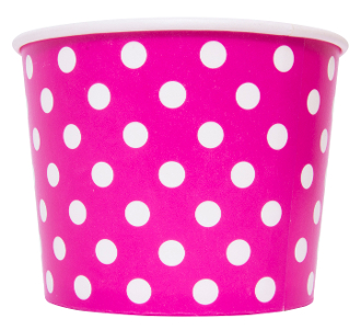 16 oz pink polka dot frozen yogurt cups are fun colored yogurt cups for frozen yogurt and ice cream.