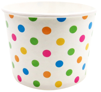 32 Oz. Rainbow Polka Dot Frozen Yogurt Cups 600/Case